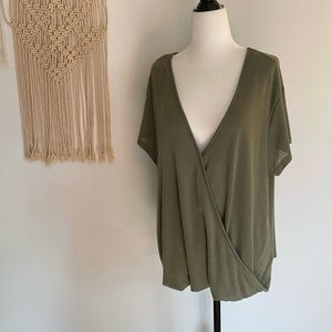 We The Free FP Green Cross Wrap Sweater size large